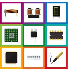 Flat electronics set of receiver microprocessor vector
