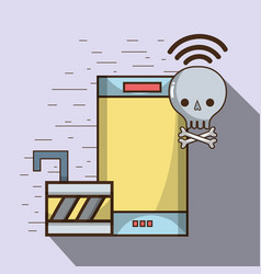 Smartphone and skull with bones and wifi with vector
