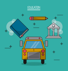 Colorful poster of education with school bus in vector