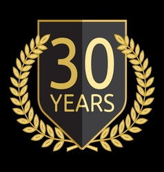 Golden laurel wreath 30 years vector
