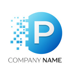realistic letter p logo in colorful circle vector image