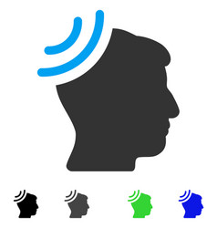 Radio reception brain flat icon vector
