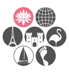 Tourism icon set vector
