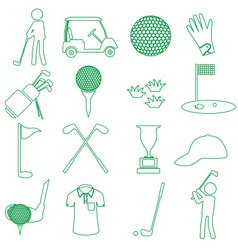 Golf sport simple green outline icons set eps10 vector