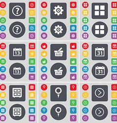 Question mark Gear Apps Calendar Basket Calendar vector image