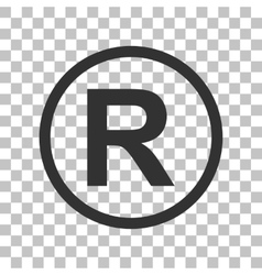 Registered trademark sign dark gray icon on vector