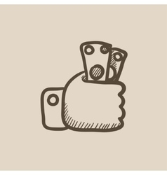 Hand holding money sketch icon vector