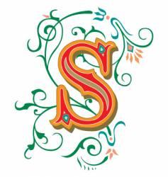 Floral letter s vector