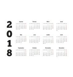 Simple calendar on 2018 year in french language vector