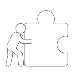Person pushing puzzle piece icon vector