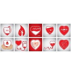 Set of blood donation vector
