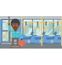 Man traveling by public transport vector