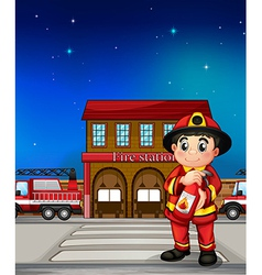 A fireman with an extinguisher vector image