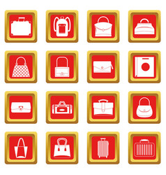 Bag baggage suitcase icons set red vector