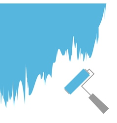 Blue paint roller brush for text on the wall vector