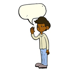 Cartoon arrogant boy with speech bubble vector