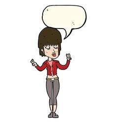 Cartoon cool girl with speech bubble vector