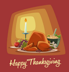 Cartoon thanksgiving dish menu combination turkey vector