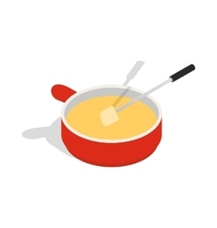 Cheese fondue icon isometric 3d style vector