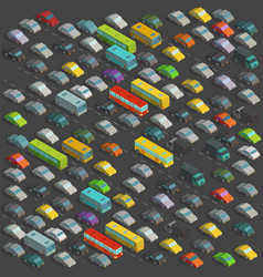 City horrendous traffic jams isometric projection vector