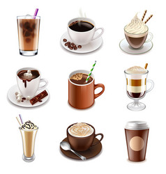 Coffee drinks icons set vector