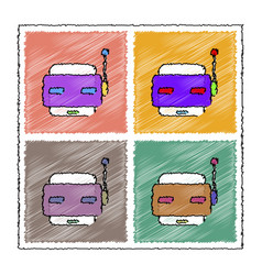 Collection of flat shading style icons toy robot vector