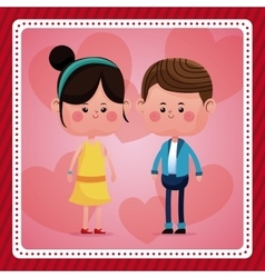 Couple together smile pink hearts background vector