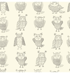 Cute cartoon owls pattern vector image