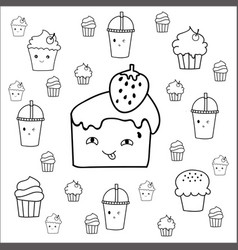 cute hand drawn desserts doodles design vector image vector image