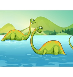 Dinosaurs standing in the river vector