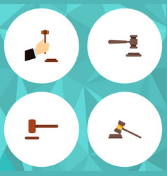 Flat icon lawyer set of law legal defense and vector