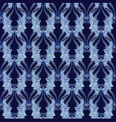 floral baroque seamless pattern blue damask vector image