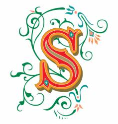 floral letter s vector image