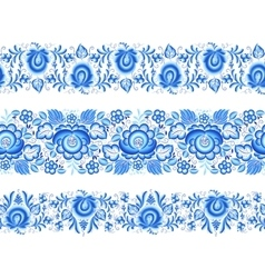 Floral stripes seamless patterns in gzhel style vector image vector image