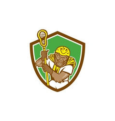Gorilla lacrosse player shield cartoon vector