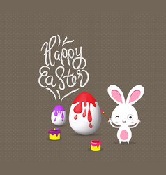 Happy easter with bunny eggs painting colorful vector