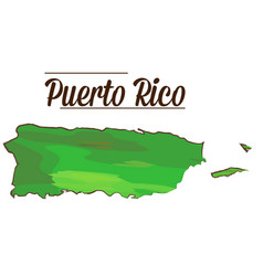 isolated puerto rico map vector image vector image