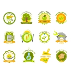 Organic food brands labels templates set flat vector