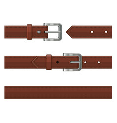 Seamless brown leather belts set vector