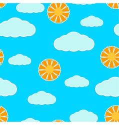 Seamless texture with clouds and sun vector