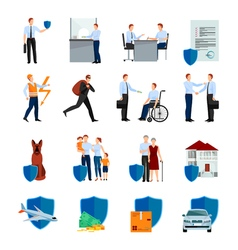 Services Of Insurance Company Icons Set vector image