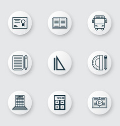set of 9 education icons includes taped book vector image