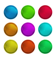 Set of empty glossy round multi-colored label that vector image