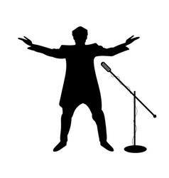 Silhouettes of showman singer with microphone vector