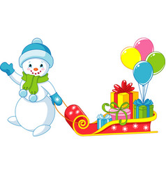 snowman with gifts vector image vector image