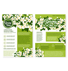 Spring time holiday flowers posters vector