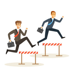 Two businessmen racing over hurdle obstacles vector
