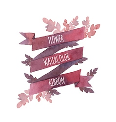 Watercolor flower ribbon vector