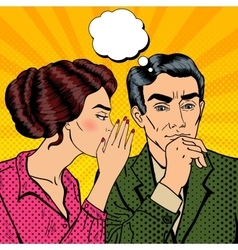 Woman whispering secret to her husband pop art vector