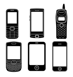 Mobile phones silhouettes set vector